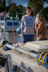 Katie and Jessie on their Sailboat Louise ready to leave from Harbour Point Yacht Club further down the Mississippi